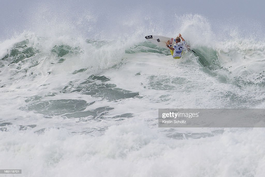 Adam Melling of Australia surfs to an equal 25th place on March 31, 2013 in Bells Beach, Australia.
