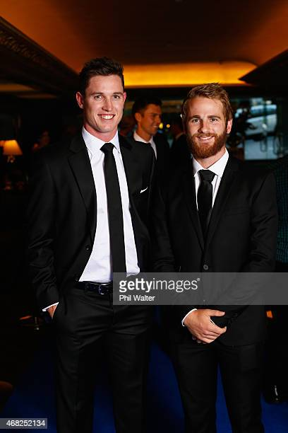 Adam Milne and Kane Williamson arrive for the New Zealand Cricket Awards at The Langham Hotel on April 1 2015 in Auckland New Zealand