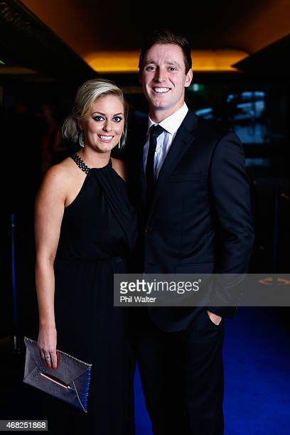 Adam Milne and partner arrive for the New Zealand Cricket Awards at The Langham Hotel on April 1 2015 in Auckland New Zealand