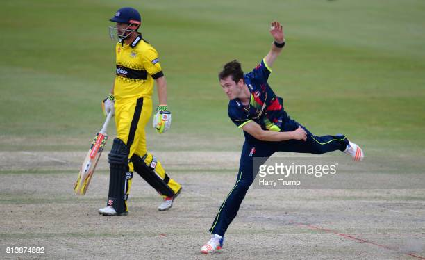 Adam Milne of Kent during the Natwest T20 Blast match between Gloucestershire and Kent at the College Ground on July 13 2017 in Cheltenham England