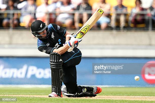 Adam Milne of New Zealand bats during game two of the one day international series between New Zealand and Australia at Westpac Stadium on February 6...