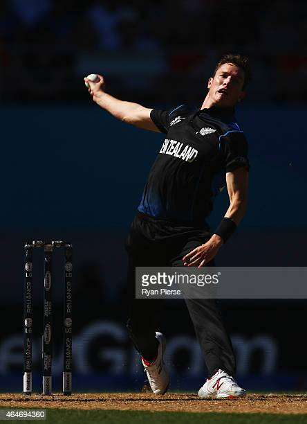 Adam Milne of New Zealand bowls during the 2015 ICC Cricket World Cup match between Australia and New Zealand at Eden Park on February 28 2015 in...