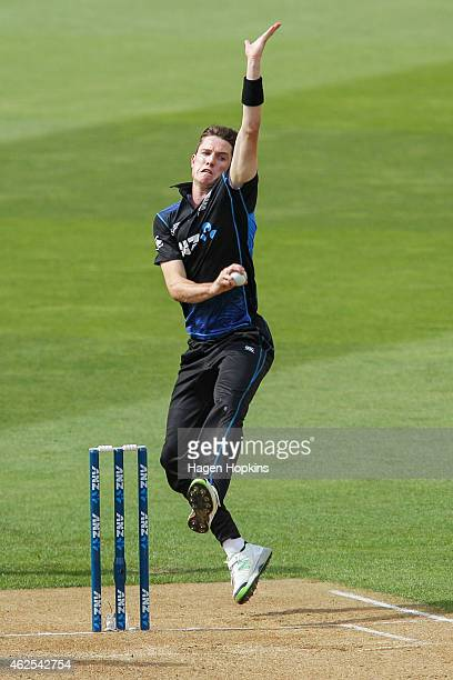 Adam Milne of New Zealand bowls during the One Day International match between New Zealand and Pakistan at Westpac Stadium on January 31 2015 in...