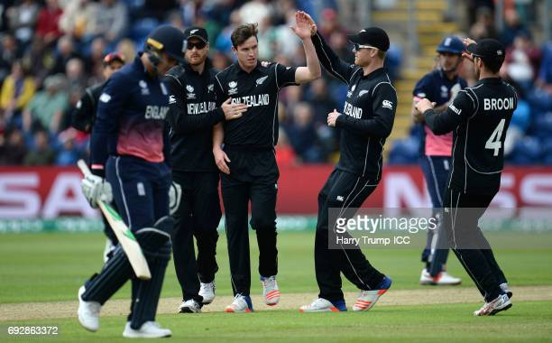 Adam Milne of New Zealand celebrates after bowling Jason Roy of England during the ICC Champions Trophy match between England and New Zealand at...