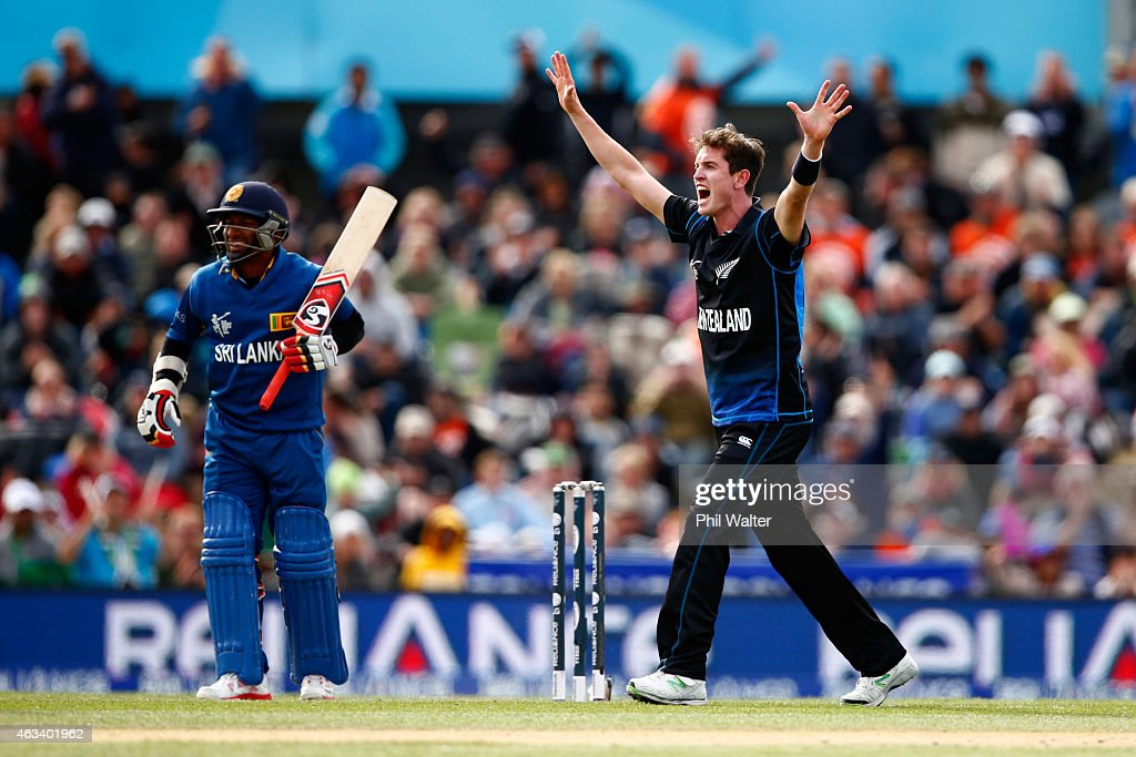 <a gi-track='captionPersonalityLinkClicked' href=/galleries/search?phrase=Adam+Milne&family=editorial&specificpeople=6735086 ng-click='$event.stopPropagation()'>Adam Milne</a> of New Zealand celebrates his wicket of <a gi-track='captionPersonalityLinkClicked' href=/galleries/search?phrase=Jeevan+Mendis&family=editorial&specificpeople=7037737 ng-click='$event.stopPropagation()'>Jeevan Mendis</a> of Sri Lanka during the 2015 ICC Cricket World Cup match between Sri Lanka and New Zealand at Hagley Oval on February 14, 2015 in Christchurch, New Zealand.