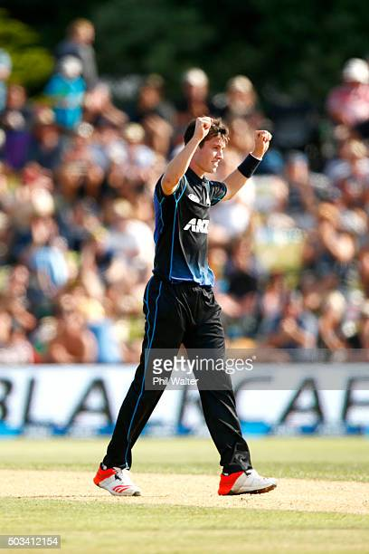 Adam Milne of New Zealand celebrates his wicket of Thisara Perera of Sri Lanka during game five of the One Day International series between New...