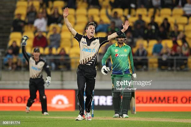 Adam Milne of New Zealand celebrates the wicket of Imad Wasim of Pakistan during the Twenty20 International match between New Zealand and Pakistan at...