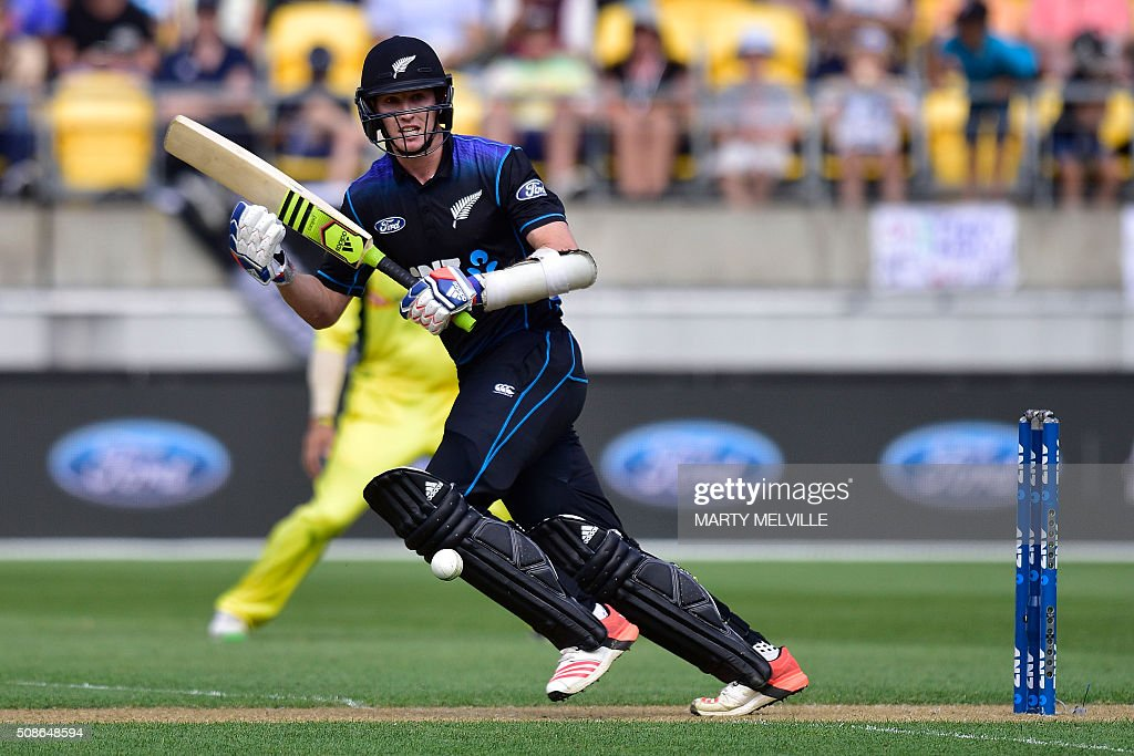 Adam Milne of New Zealand plays a shot during the 2nd one-day international cricket match between New Zealand and Australia at Westpac Stadium in Wellington on February 6, 2016. AFP PHOTO / MARTY MELVILLE / AFP / Marty Melville
