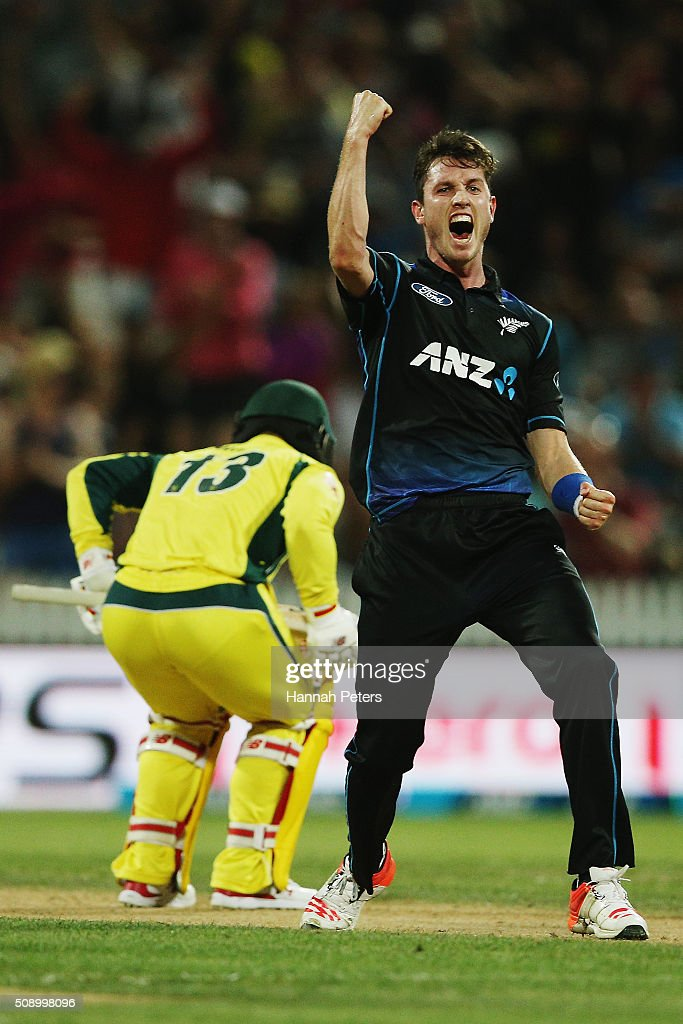 <a gi-track='captionPersonalityLinkClicked' href=/galleries/search?phrase=Adam+Milne&family=editorial&specificpeople=6735086 ng-click='$event.stopPropagation()'>Adam Milne</a> of the Black Caps celebrates the wicket of <a gi-track='captionPersonalityLinkClicked' href=/galleries/search?phrase=Matthew+Wade&family=editorial&specificpeople=724041 ng-click='$event.stopPropagation()'>Matthew Wade</a> of Australia during the 3rd One Day International cricket match between the New Zealand Black Caps and Australia at Seddon Park on February 8, 2016 in Hamilton, New Zealand.