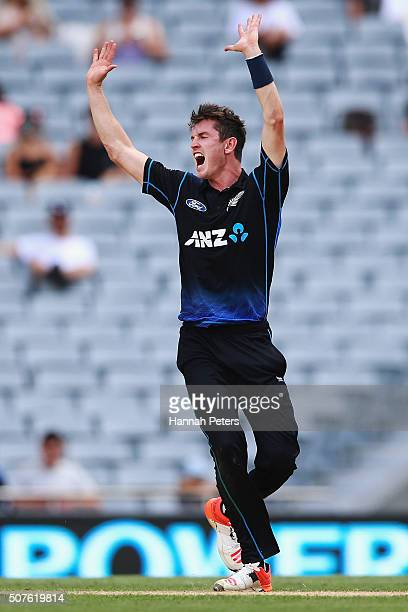 Adam Milne of the Black Caps celebrates the wicket of Mohammad Amir of Pakistan during the One Day International match between New Zealand and...