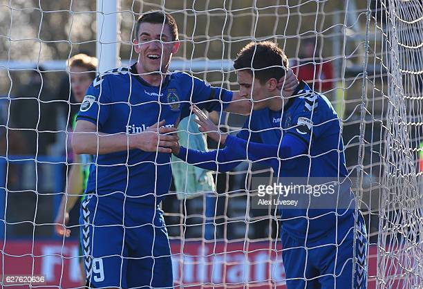 Adam Morgan of Curzon Ashton celebrates with team mate Niall Cummins as he scores their second goal during the Emirates FA Cup second round match...