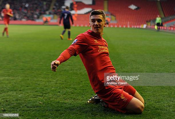 Adam Morgan of Liverpool celebrates after scoring the opening goal during the Barclays U21's Premier Leauge match between Liverpool U21 and Arsenal...