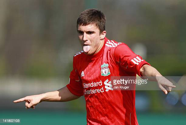 Adam Morgan of Liverpool celebrates scoring his side's second goal during the NextGen Series 3rd Place Play Off final match between Liverpool U19 and...