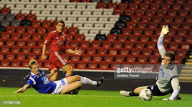 Adam Morgan of Liverpool scores the opening goal during the NextGen Series Group 2 match between Liverpool U19 and Molde FK U19 at Anfield on...