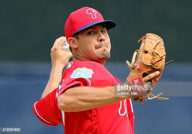 Adam Morgan of the Philadelphia Phillies in action during the game against the New York Yankees at Steinbrenner Field on March 3 2016 in Tampa Florida
