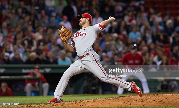 Adam Morgan of the Philadelphia Phillies pitches against the Boston Red Sox during the sixth inning at Fenway Park on September 4 2015 in Boston...