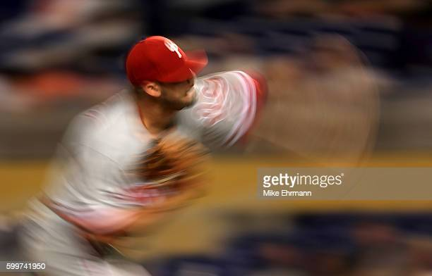 Adam Morgan of the Philadelphia Phillies pitches during a game against the Miami Marlins at Marlins Park on September 6 2016 in Miami Florida