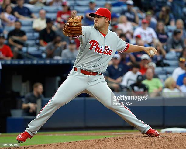 Adam Morgan of the Philadelphia Phillies pitches in the first inning against the Atlanta Braves at Turner Field on May 10 2016 in Atlanta Georgia
