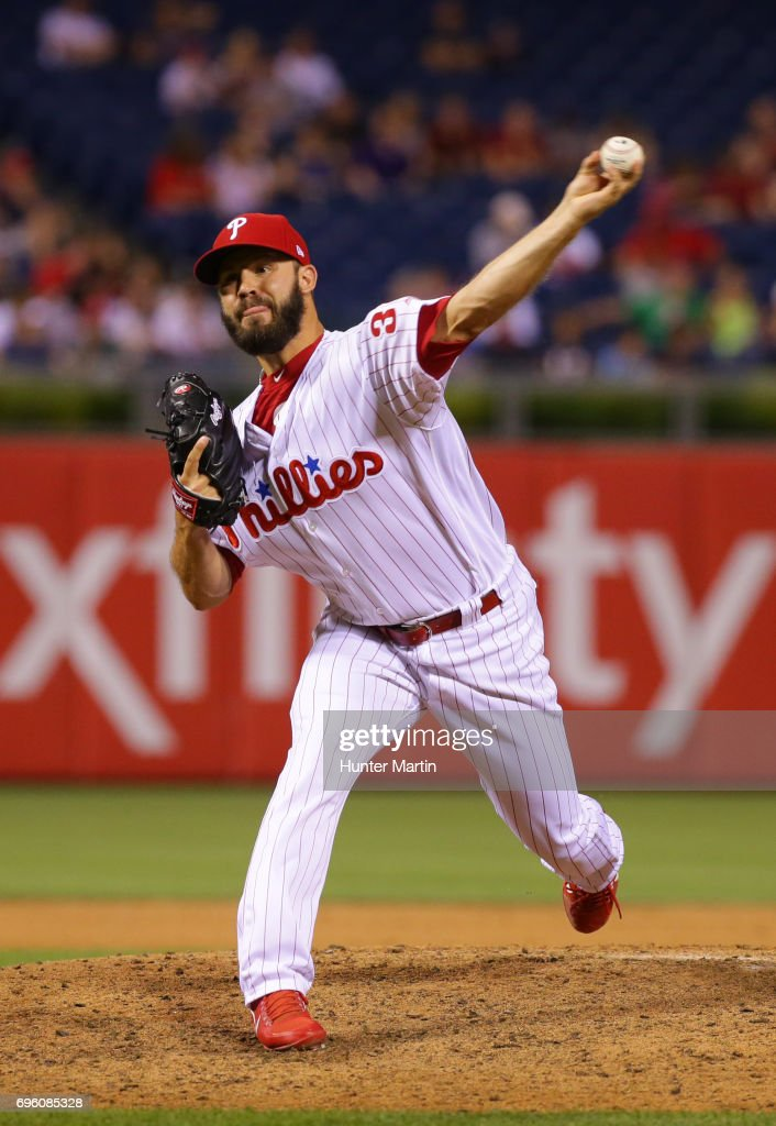 Adam Morgan #39 of the Philadelphia Phillies throws a pitch in the eighth inning during a game against the Boston Red Sox at Citizens Bank Park on June 14, 2017 in Philadelphia, Pennsylvania. The Red Sox won 7-3.