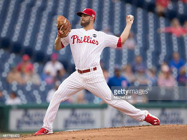 Adam Morgan of the Philadelphia Phillies throws a pitch in the top of the second inning against the Chicago Cubs on September 11 2015 at Citizens...