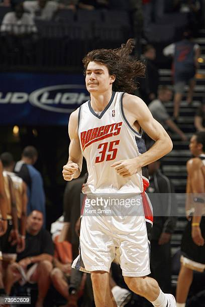 Adam Morrison of the Charlotte Bobcats jogs downcourt during the NBA game against the Washington Wizards at Charlotte Bobcats Arena on April 3 2007...