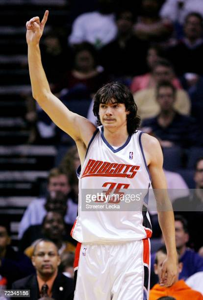 Adam Morrison of the Charlotte Bobcats reacts to being called for a foul during their game against the Indiana Pacers on November 1 2006 at the...