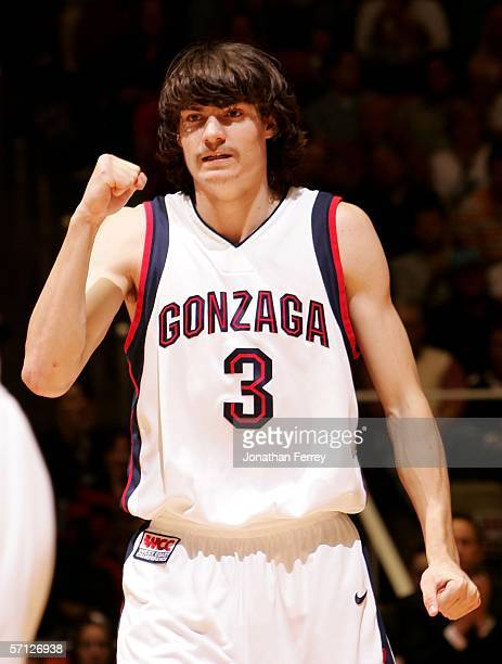 Adam Morrison of the Gonzaga Bulldogs celebrates against the Indiana Hoosiers during the Second Round of the 2006 NCAA Men's Basketball Tournament...