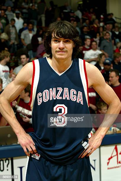 Adam Morrison of the Gonzaga Bulldogs looks on as he waits to be interviewed on ABC television after the game against the Loyola Marymount Lions on...