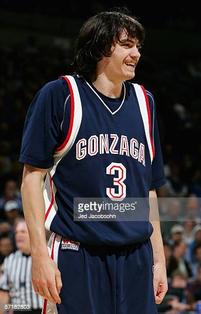 Adam Morrison of the Gonzaga Bulldogs smiles during the third round game of the NCAA Division I Men's Basketball Tournament at the Arena in Oakland...