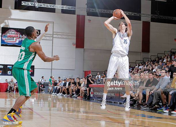 Adam Morrison of the Los Angeles Clippers shoots against the Boston Celtics during NBA Summer League on July 22 2012 at Cox Pavilion in Las Vegas...