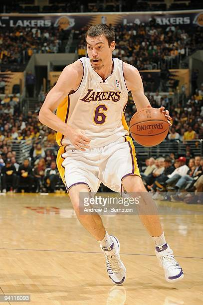 Adam Morrison of the Los Angeles Lakers drives the ball to the basket during the game against the Oklahoma City Thunder on November 22 2009 at...