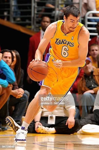 Adam Morrison of the Los Angeles Lakers drives to the basket during the game against the New Orleans Hornets on December 1 2009 at Staples Center in...