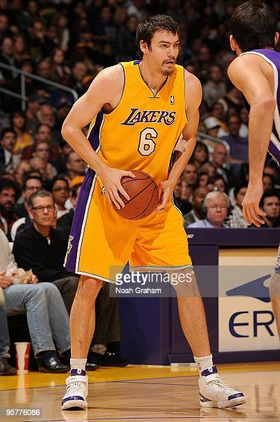 Adam Morrison of the Los Angeles Lakers handles the ball against the Sacramento Kings during the game on January 1 2010 at Staples Center in Los...