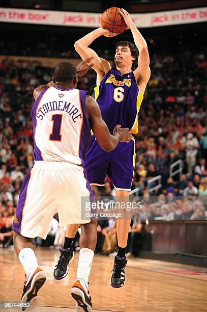 Adam Morrison of the Los Angeles Lakers makes a jumpshot against Amar'e Stoudemire of the Phoenix Suns during the game on March 12 2010 at US Airways...