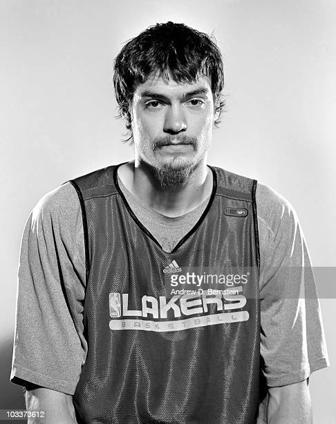 Adam Morrison of the Los Angeles Lakers poses for a portrait during 2009 NBA Media Day on September 29 2009 at Toyota Sports Center in El Segundo...