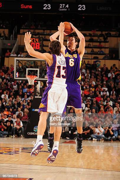 Adam Morrison of the Los Angeles Lakers takes a jump shot against Steve Nash of the Phoenix Suns during the game on December 28 2009 at US Airways...