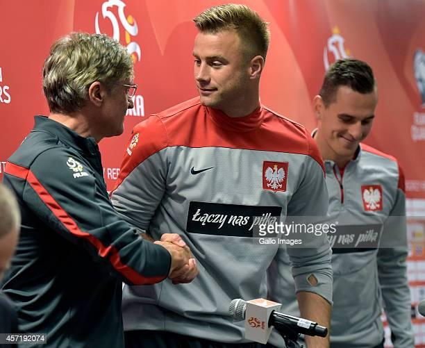 Adam Nawalka Artur Boruc and Arkadiusz Milik during the Poland national soccer team press conference at Westin Hotel on October 13 2014 in Warsaw...