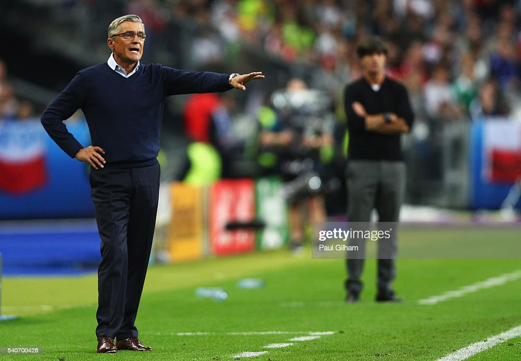 Adam Nawalka head coach of Poland gestures during the UEFA EURO 2016 Group C match between Germany and Poland at Stade de France on June 16, 2016 in Paris, France.