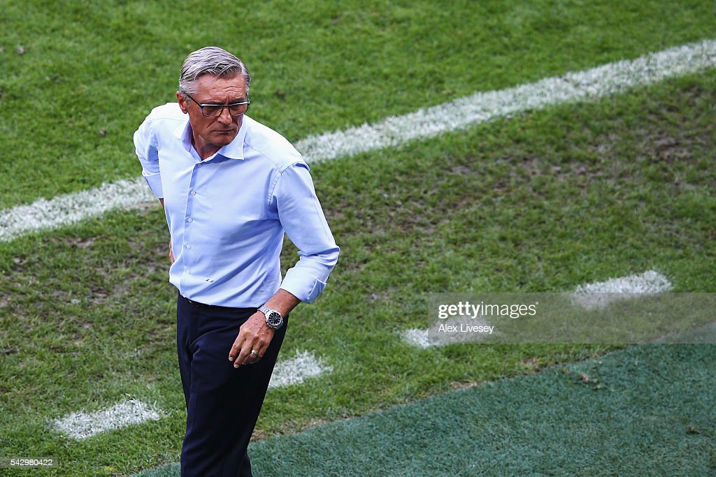 Adam Nawalka head coach of Poland looks on during the UEFA EURO 2016 round of 16 match between Switzerland and Poland at Stade Geoffroy-Guichard on June 25, 2016 in Saint-Etienne, France.