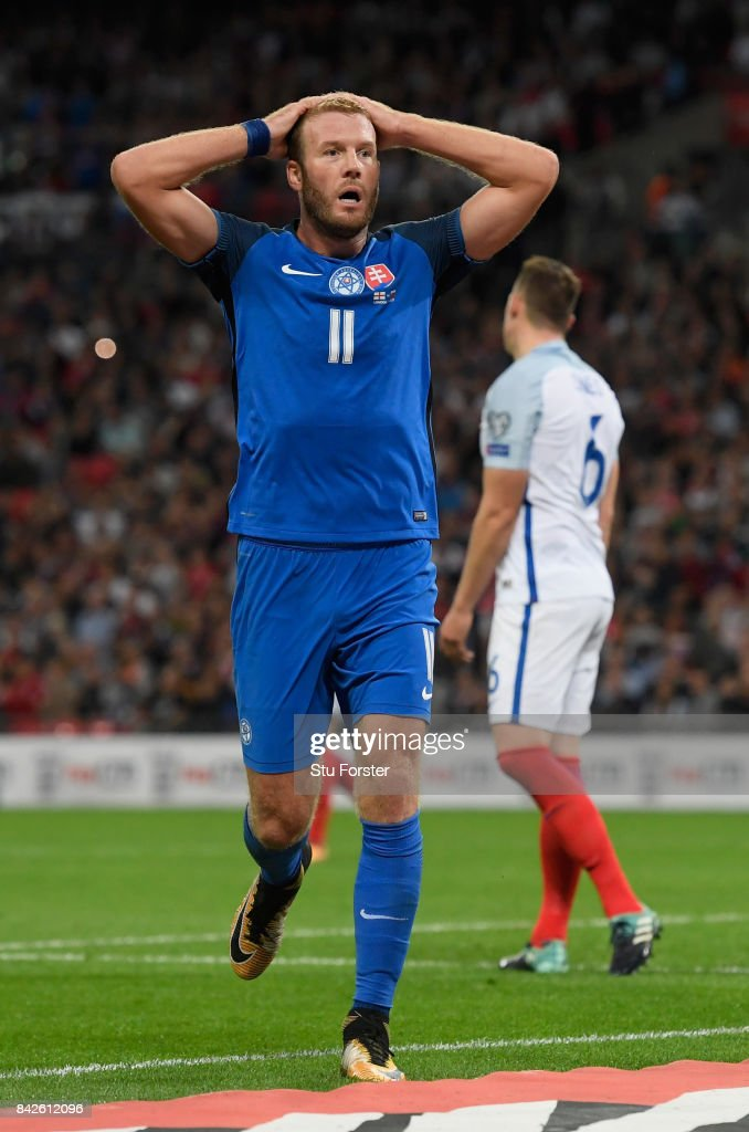 Adam Nemec of Slovakia reacts during the FIFA 2018 World Cup Qualifier between England and Slovakia at Wembley Stadium on September 4, 2017 in London, England.