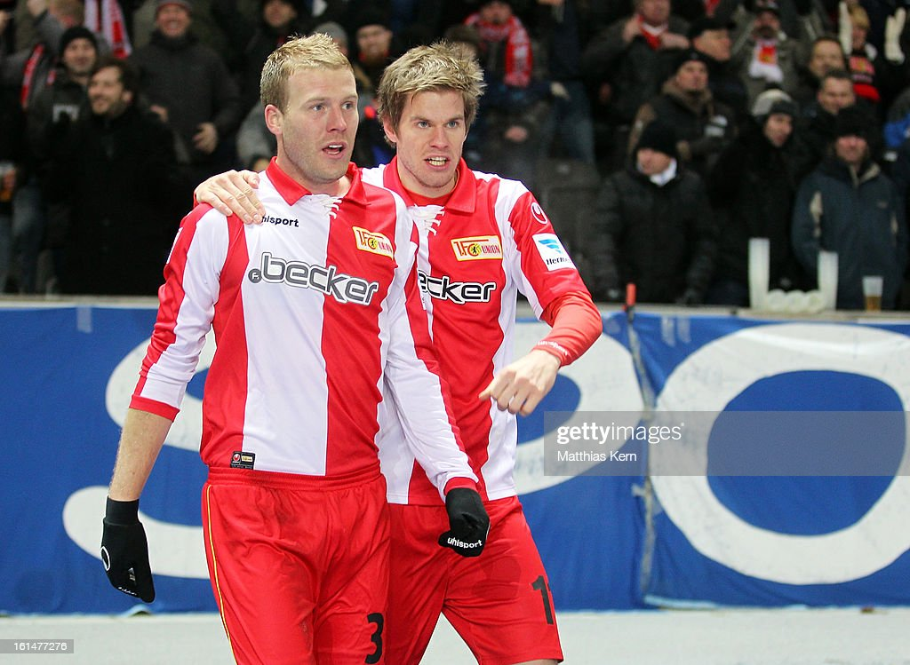 Adam Nemec (L) of Union Jubilates with team mate Simon Terodde (R) after scoring the second goal during the Second Bundesliga match between Hertha BSC Berlin and 1.FC Union Berlin at Olympic Stadium on February 11, 2013 in Berlin, Germany.