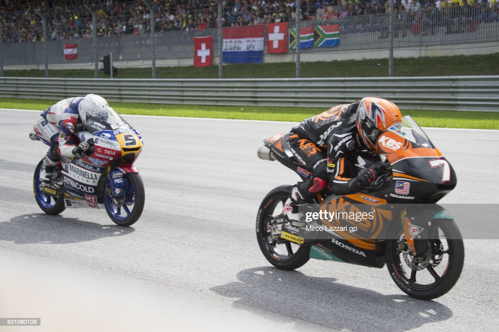 Adam Norrodin of Malaysia and SIC Racing Team leads Romano Fenati of Italy and Marinelli Rivacold Snipers Team during the Moto2 race during the MotoGp of Austria - Race at Red Bull Ring on August 13, 2017 in Spielberg, Austria.