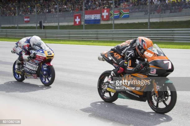 Adam Norrodin of Malaysia and SIC Racing Team leads Romano Fenati of Italy and Marinelli Rivacold Snipers Team during the Moto2 race during the...