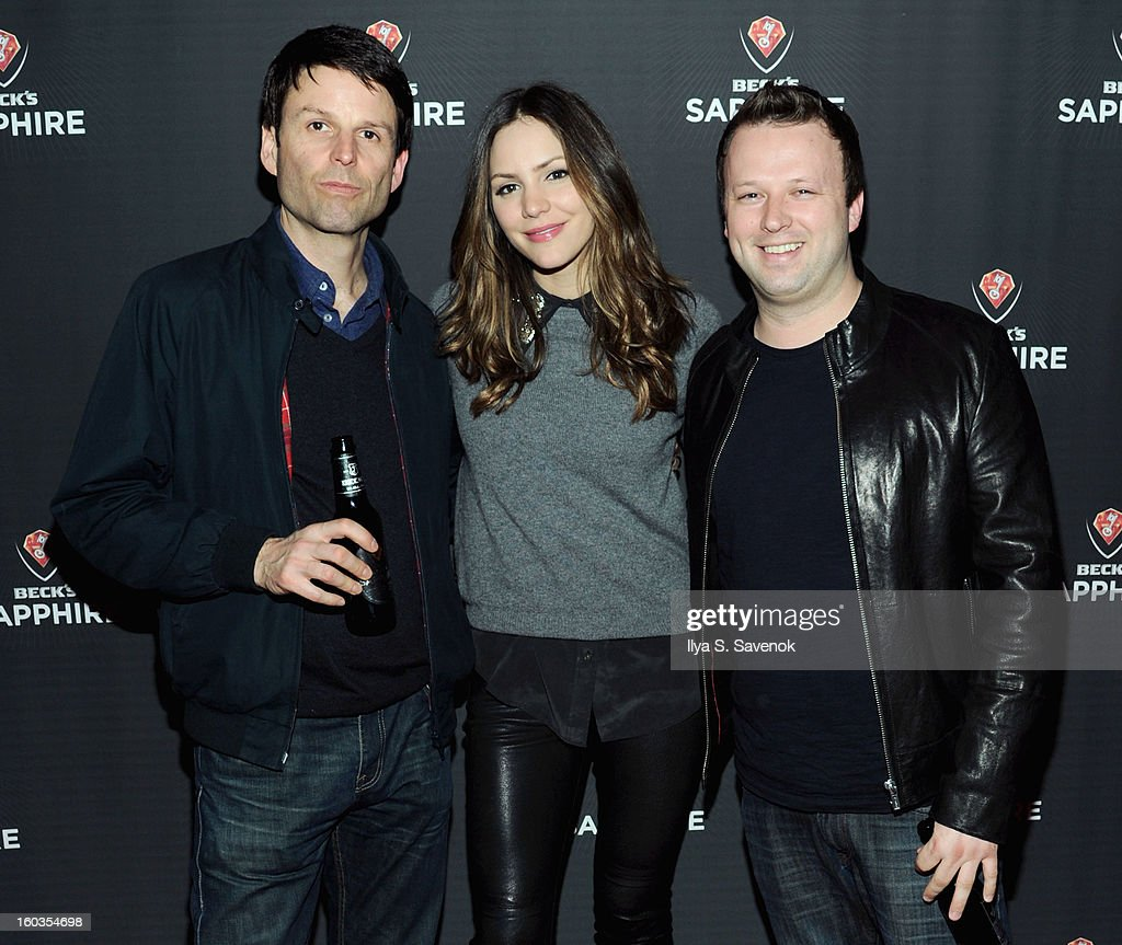 Adam Oakley, <a gi-track='captionPersonalityLinkClicked' href=/galleries/search?phrase=Katharine+McPhee&family=editorial&specificpeople=581492 ng-click='$event.stopPropagation()'>Katharine McPhee</a> and Chris Curtis attend No Diggity, No Doubt: Beck's Sapphire Pops Up To Celebrate Super Bowl on January 29, 2013 in New York City.