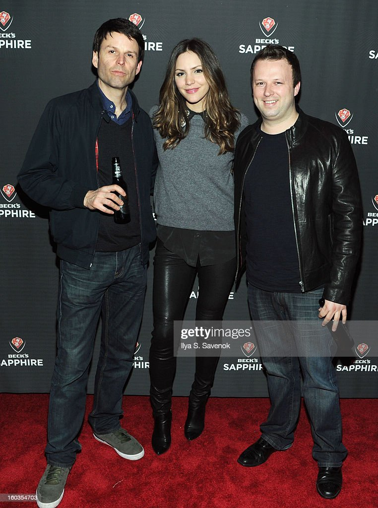 Adam Oakley, Katharine McPhee and Chris Curtis attend No Diggity, No Doubt: Beck's Sapphire Pops Up To Celebrate Super Bowl on January 29, 2013 in New York City.