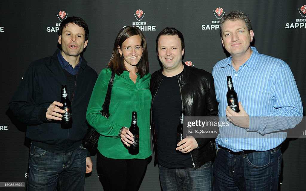 Adam Oakley, Laura Vallis, Chris Curtis and Andrew Sneyd attend No Diggity, No Doubt: Beck's Sapphire Pops Up To Celebrate Super Bowl on January 29, 2013 in New York City.