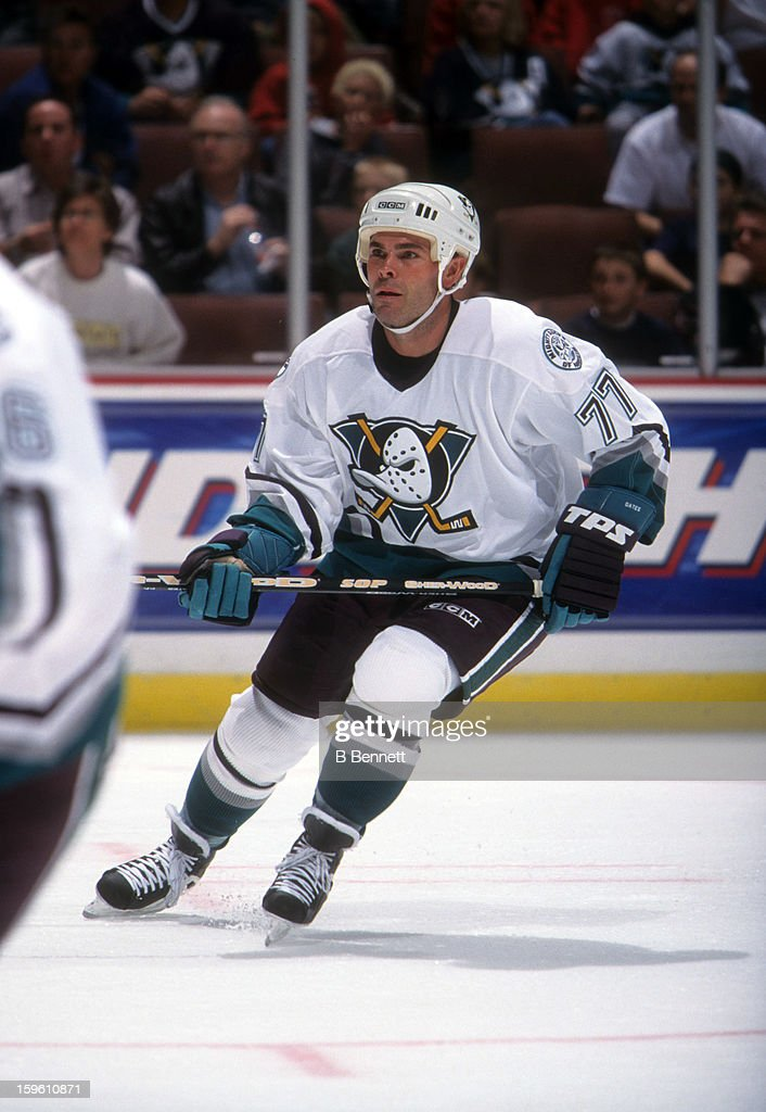 Adam Oates of the Mighty Ducks of Anaheim skates on the ice during an NHL game circa 2003 at the Arrowhead Pond in Anaheim California