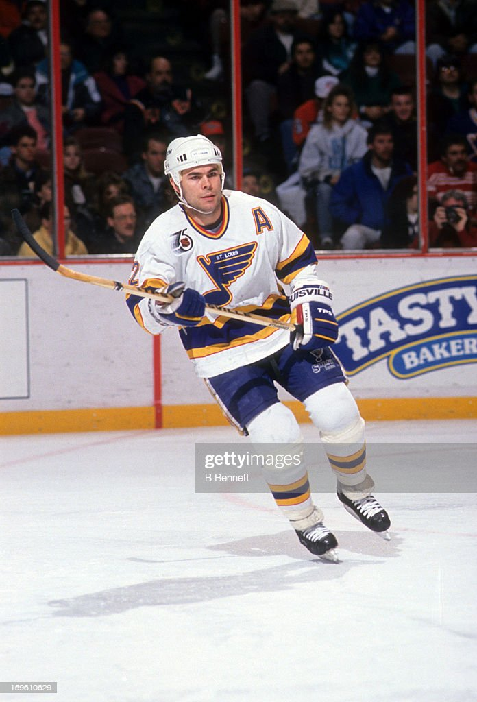 Adam Oates of the St Louis Blues skates on the ice during an NHL game against the Philadelphia Flyers on February 2 1992 at the Spectrum in...