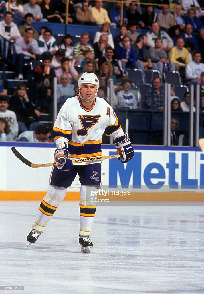 <a gi-track='captionPersonalityLinkClicked' href=/galleries/search?phrase=Adam+Oates&family=editorial&specificpeople=209315 ng-click='$event.stopPropagation()'>Adam Oates</a> #21 of the St. Louis Blues skates on the ice during an NHL game against the Toronto Maple Leafs on March 30, 1991 at the St. Louis Arena in St. Louis, Missouri.