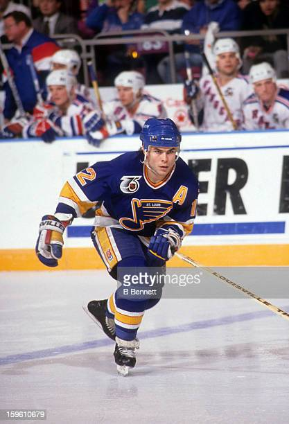 Adam Oates of the St Louis Blues skates on the ice during an NHL game against the New York Rangers on January 8 1992 at the Madison Square Garden in...
